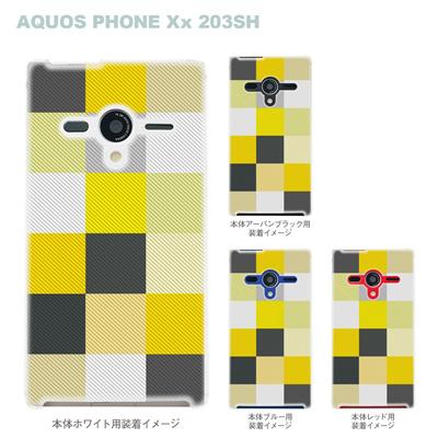【AQUOS PHONEケース】【203SH】【Soft Bank】【カバー】【スマホケース】【クリアケース】【チェック】 06-203sh-ca0032yeの画像