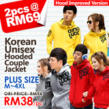 ♥ LuvClo ~  Korean Style Simple Unisex Casual Hooded Couple Jacket (3 Colors)(M~4XL)