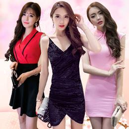 Korean style fashion dress  / evening / dress / Lace / Chiffon / Elastic cotton