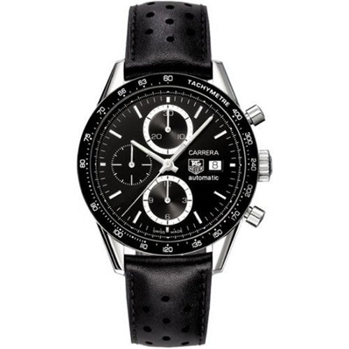 【クリックで詳細表示】[アメリカ直送]TAG Heuer Men s CV2010.FC6205 Carrera Automatic Chronograph Leather Watch