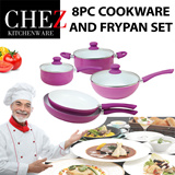 CHEZ 8PC COOKWARE AND FRYPAN SET *INTRODUCTORY OFFER* CERAMIC INNER COATING QUALITY INDUCTION HONEYCOMB BOTTOM SOFT TOUCH HANDLES HEAT RESISTANT COLORS in BOYSENBERRY AND TURQUOISE BLUE