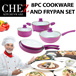 CHEZ 8PC COOKWARE POTS AND FRYING PANS *EXCEPTIONAL OFFER* CERAMIC INNER COATING QUALITY INDUCTION HONEYCOMB BOTTOM SOFT TOUCH HANDLES HEAT RESISTANT COLORS in BOYSENBERRY AND TURQUOISE BLUE
