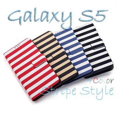 ≪docomo≫ GALAXY S5 SC-04F/≪au≫ GALAXY S5 SCL23スマホケース スマホカバーギャラクシー GALAXY S5 Diary / SAMSUNG GALAXY S5用 シンプルなボーダー柄 ダイアリータイプケースの画像