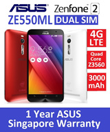 ZE550ML ASUS ZenFone 2 4G LTE Dual SIM/Intel Atom Quad Core Z3560 1.8GHz/16GB/2GB RAM/Red and White Available/1 Year ASUS Singapore Warranty