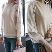 [CANMART]韓国ファッション★袖シフォンニットTシャツC031467袖のシフォンラインが乙女演出!腕隠しGOOD