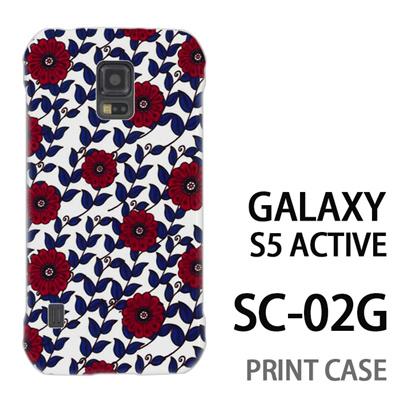 GALAXY S5 Active SC-02G 用『0316 蔓フラワー 赤×青』特殊印刷ケース【 galaxy s5 active SC-02G sc02g SC02G galaxys5 ギャラクシー ギャラクシーs5 アクティブ docomo ケース プリント カバー スマホケース スマホカバー】の画像
