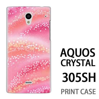 AQUOS CRYSTAL 305SH 用『0312 虹桜 ピンク』特殊印刷ケース【 aquos crystal 305sh アクオス クリスタル アクオスクリスタル softbank ケース プリント カバー スマホケース スマホカバー 】の画像