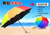 [One Shipping Rate]Korean female personality umbrella folding sunshade umbrella creative flowering water rainbow UV sunscreen Vinyl shipping