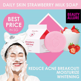 [Daily Skin]🌟 DAILY SKIN STRAWBERRY MILK SOAP🌟 PREVENT ACNE ❤ WHITENING ❤ MOISTURIZING ❤