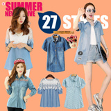 ***BUY 3 FREE SHIPPING*** 【LOVE*FAMILY】2015 Summer New Fashion❤Women Denim Shirt❤Women Cowboy Shirt❤Casual Shirts❤Denim Shirts NCS021