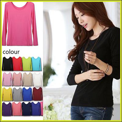 2016年春Ver.即納シャツ★人気のランニングシャツも色が増えました!長袖、modal95%Tシャツ/コットン/女性用の長袖肌着/WXJ012