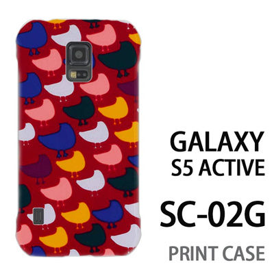 GALAXY S5 Active SC-02G 用『0317 モザイク鳥ドット 赤』特殊印刷ケース【 galaxy s5 active SC-02G sc02g SC02G galaxys5 ギャラクシー ギャラクシーs5 アクティブ docomo ケース プリント カバー スマホケース スマホカバー】の画像