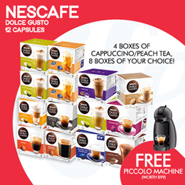 [NESCAFE] 【FREE PICCOLO MACHINE!】Buy 12 boxes of Capsules and get a free coffee machine!