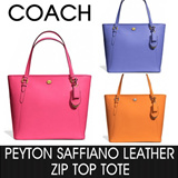 [COACH] peyton saffiano leather zip top tote F27349