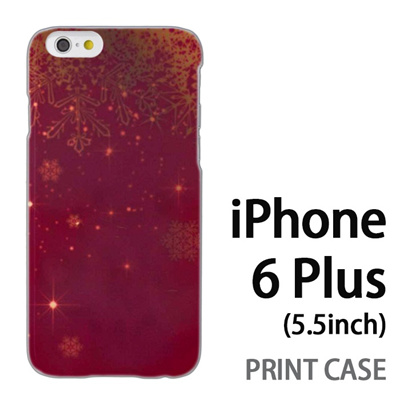 iPhone6 Plus (5.5インチ) 用『1205 雪結晶の模様 赤』特殊印刷ケース【 iphone6 plus iphone アイフォン アイフォン6 プラス au docomo softbank Apple ケース プリント カバー スマホケース スマホカバー 】の画像