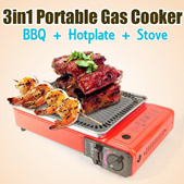 3 in 1 Portable Gas Cooker BBQ + Hot Plate + Standard Stove