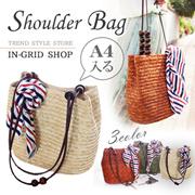 \新作♥先行発売/A4が入る♥ビーチショルダーバッグ/レディースカゴバッグ GW 旅行 海 ビーチ 木製 ショルダーバッグ