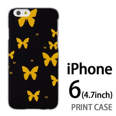 iPhone6 (4.7インチ) 用『No3 イエローバタフライ群』特殊印刷ケース【 iphone6 iphone アイフォン アイフォン6 au docomo softbank Apple ケース プリント カバー スマホケース スマホカバー 】の画像