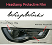 WRAPWORKS - Headlamp Protective film / Blue tint / Dark tint / For all car size models - Small/Medium/Luxury and MPV/SUV.