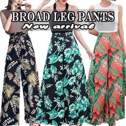 The new Korean Fashion printing wide leg pants / Ladies Pants/ Chiffon Shorts