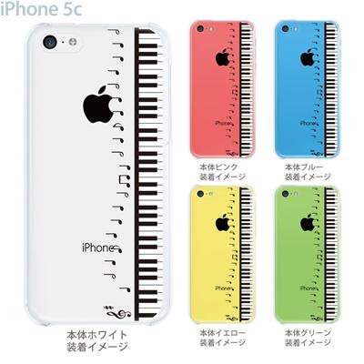 【iPhone5c】【iPhone5cケース】【iPhone5cカバー】【iPhone ケース】【クリア カバー】【スマホケース】【クリアケース】【イラスト】【ミュージック】【ピアノと音符】 08-ip5cp-ca0048aの画像
