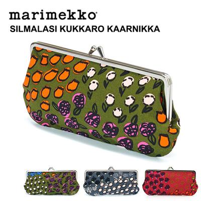 【メール便送料無料/1点まで】マリメッコ Marimekko がま口横長ポーチ SILMALASI KUKKARO KAARNIKKA 41097の画像
