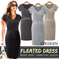 ★Fall-New★[FREE Shipping]Good stretch fabric / material cool / V neckline / feminine / Chic look / popular item / High Quality /Casual Dress