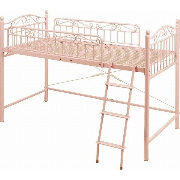 組立式 ロマンチック デザインロフトベッド ロータイプ プリンセスベッド ロフトベット パイプベッド シングルベッド ロフト ベッド 姫系家具 お姫様ベッド