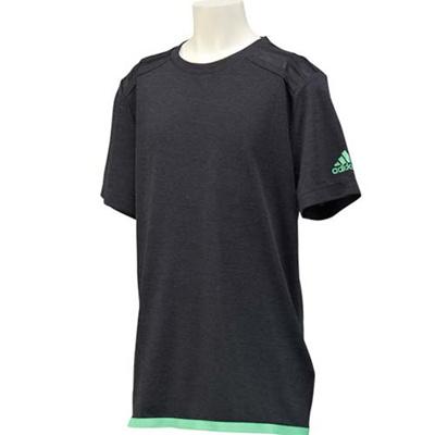 アディダス(adidas) KIDS Climachill ショートスリーブTシャツ GWL39 S19449 チルブラックメランジ/フラッシュグリーン S15 【ジュニア トレーニングウェア 半袖】の画像