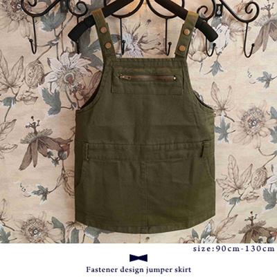 【即納】ファスナーデザインジャンパースカート #カーキ ガールズ・キッズアパレル ボトムス 韓国子供服 女の子 洋服 長ズボン kids girls  カジュアル ロンパース ワンピース  サロペットスカート ジーンズ ジャンバースカートの画像