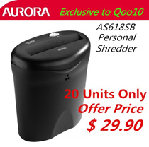 Aurora Personal Shredder Machine AS-618SB Exclusive order for Qoo10.Only 20 sets available only.