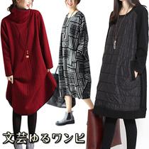 韓国ファッションゆるニットワンピース 中綿ワンピース スェットワンピース マキシワンピース ゆったりシルエット体型カバー 大きいサイズ ワンピース 膝ためワンピース