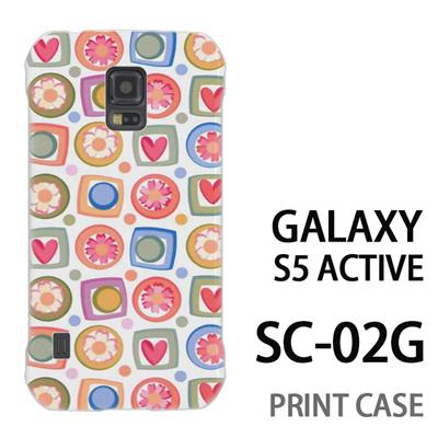 GALAXY S5 Active SC-02G 用『0615 花Xハート』特殊印刷ケース【 galaxy s5 active SC-02G sc02g SC02G galaxys5 ギャラクシー ギャラクシーs5 アクティブ docomo ケース プリント カバー スマホケース スマホカバー】の画像