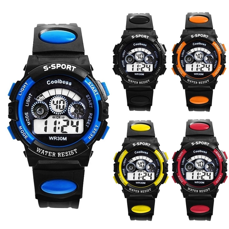Qoo10【TEEMI】 Kids Children Teen Adult Waterproof Sports LED Digital Watch Rainbow Back Light
