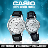 CASIO Couple Watches Genuine Leather Stainless Steel Analog Classic Stylish MTP LTP Fashion Series Vday Valentine Day Gift V Series 001 002 004 005