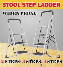 【Ready Stock】Stool Step Foldable Ladder/ Stepsfitted anti-slip pad on each steps.Easy and Compact