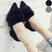 【予約販売】シューズ 靴 パンプス 走れるパンプス レディース ファー ファーパンプス 太ヒール スウェード 美脚