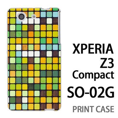 XPERIA Z3 Compact SO-02G 用『No3 モザイク 黄緑』特殊印刷ケース【 xperia z3 compact so-02g so02g SO02G xperiaz3 エクスペリア エクスペリアz3 コンパクト docomo ケース プリント カバー スマホケース スマホカバー】の画像