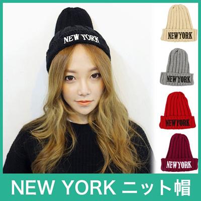 ★NEW YORKニット帽|ニューヨーク|帽子|ビー二ー|キャップ|メンズ|レディース|シンプル|秋冬|ハット|防寒|goods46[予約]の画像