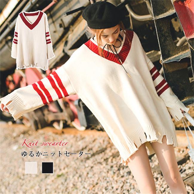 レディース  セーター    韓国ファッション セーター Vネック   Sweet 長袖  knit swearter  ゆるかニットセーター ゆとりの、修身、独特のデザイン  送料無料