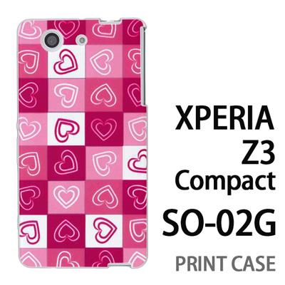 XPERIA Z3 Compact SO-02G 用『No3 モザイクハート ピンク』特殊印刷ケース【 xperia z3 compact so-02g so02g SO02G xperiaz3 エクスペリア エクスペリアz3 コンパクト docomo ケース プリント カバー スマホケース スマホカバー】の画像