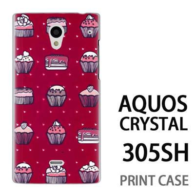 AQUOS CRYSTAL 305SH 用『0315 スイーツドットハート 赤』特殊印刷ケース【 aquos crystal 305sh アクオス クリスタル アクオスクリスタル softbank ケース プリント カバー スマホケース スマホカバー 】の画像