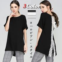 【送料無料】M-XL 3カラー バック レース ブラウス Tシャツ [レディース]/半袖/リボン/レース/花柄