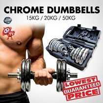 ★READY STOCKS!★ BLACK DUMBBELL * LIMITED TIME PROMOTION / CHROME DUMBBELL SET 15KG 20KG 50KG (GET BULK AT HOME)