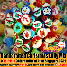 LollyTalk Christmas Candy Mix in various packagings. Singapore customized handmade rock candy that provides personalised solutions to all your gifting needs.