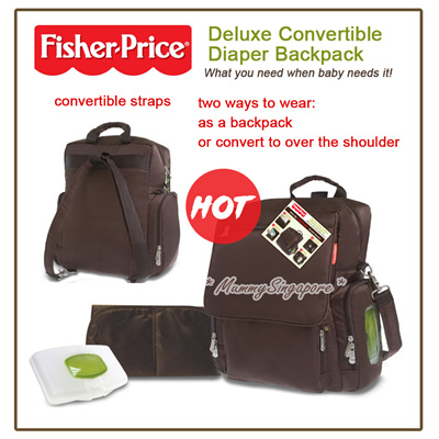 qoo10 fisher price deluxe convertible diaper backpack mummy bag baby maternity. Black Bedroom Furniture Sets. Home Design Ideas