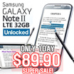[ONLY 1DAY SUPER SALE!] Samsung Galaxy Note II(32GB) 4G LTE  (UNLOCKED)[refurbish]/1.6GHz Quad Core/exports set