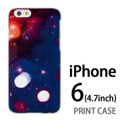 iPhone6 (4.7インチ) 用『0110 星空 青×赤』特殊印刷ケース【 iphone6 iphone アイフォン アイフォン6 au docomo softbank Apple ケース プリント カバー スマホケース スマホカバー 】の画像