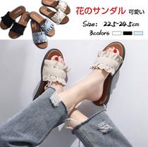 フラットサンダル 花のデザイン フリンジサンダル 2タイプ 履き心地良い 歩きやすい 綺麗で可愛い