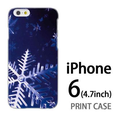 iPhone6 (4.7インチ) 用『0110 雪の結晶 大 青』特殊印刷ケース【 iphone6 iphone アイフォン アイフォン6 au docomo softbank Apple ケース プリント カバー スマホケース スマホカバー 】の画像